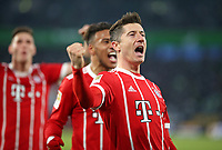 17.02.2018, Football 1. Bundesliga 2017/2018, 23.  match day, VfL Wolfsburg - FC Bayern Muenchen, in Volkswagen Arena Wolfsburg. celebration  Niklas Suele (Bayern Muenchen) , Corentin Tolisso (Bayern Muenchen) and scorer Robert Lewandowski (Bayern Muenchen)   1:2 per Foulpenalty *** Local Caption *** © pixathlon<br /> <br /> Contact: +49-40-22 63 02 60 , info@pixathlon.de