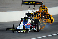 Oct. 28 2011; Las Vegas, NV, USA: NHRA top fuel dragster driver Cory McClenathan during qualifying for the Big O Tires Nationals at The Strip at Las Vegas Motor Speedway. Mandatory Credit: Mark J. Rebilas-US PRESSWIRE