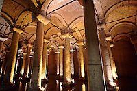 Basilica Cisterns for water storage built in the 6th century during the reign of Byzantine (Eastern Roman)  Emperor Justinian I. Istanbul Turkey