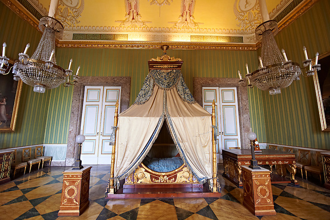 """""""The bedroom of Joachim Murat""""  is decorated in the Empire style and comes from the Royal Palace of Portici, the favourite palace of  Joachim Murat and Caroline Bonaparte. The bed is mahogany designed by French Architedt Leconte.   The Bourbon Kings of Naples Royal Palace of Caserta, Italy. UNESCO World Heritage Site"""