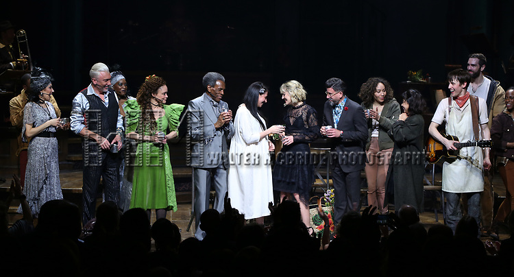 during Broadway Opening Night Performance Curtain Call for 'Hadestown' at the Walter Kerr Theatre on April 17, 2019 in New York City.