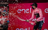 Egan Bernal (COL/Ineos Grenadiers) spreading some victory joy across the podium<br /> <br /> 104th Giro d'Italia 2021 (2.UWT)<br /> Stage 21 (final ITT) from Senago to Milan (30.3km)<br /> <br /> ©kramon