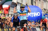 11th September 2021: Trento, Trentino–Alto Adige, Italy: 2021 UEC Road European Cycling Championships,   Mens U23 final; Filippo BARONCINI (ITA), Thibau NYS (BEL)