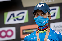 Alejandro Valverde (ESP/Movistar) saying goodbye to the race he won 5 times in style by finishing 3rd in his very last appearance <br /> <br /> 85th La Flèche Wallonne 2021 (1.UWT)<br /> 1 day race from Charleroi to the Mur de Huy (BEL): 194km<br /> <br /> ©kramon