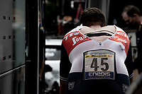 Mads Pedersen (DEN/Trek - Segafredo) working himself in a sweat while warming up pre-stage<br /> <br /> Stage 5 (ITT): Time Trial from Changé to Laval Espace Mayenne (27.2km)<br /> 108th Tour de France 2021 (2.UWT)<br /> <br /> ©kramon