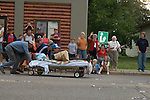 Bed races on main street in Winter, WI