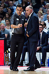 Real Madrid's coach Pablo Laso talking with the referee during the third match of the Liga Endesa Playoff at Barclaycard Center in Madrid. May 31. 2016. (ALTERPHOTOS/Borja B.Hojas)
