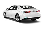 Car pictures of rear three quarter view of a 2018 Toyota Camry LE Auto 4 Door Sedan angular rear