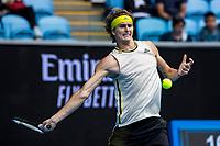 8th February 2021, Melbourne, Victoria, Australia;  Alexander Zverev of Germany returns the ball during round 1 of the 2021 Australian Open on February 8 2020