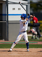 IMG Academy Ascenders Blue Gaku Takahashi (2) bats during a game against the Carrollwood Day Patriots on February 20, 2021 at IMG Academy in Bradenton, Florida.  (Mike Janes/Four Seam Images)