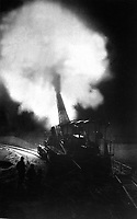 Greatest French gun (320mm) at moment of firing during a night bombardment.  The belch of smoke from the explosion of the charge is a flash of light at night and makes a most unusual sight.  Underwood & Underwood. (War Dept.)<br /> Exact Date Shot Unknown<br /> NARA FILE #:  165-WW-286-6<br /> WAR & CONFLICT BOOK #:  626