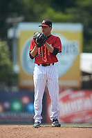Kannapolis Intimidators starting pitcher Sam Long (28) looks to his catcher for the sign against the Hickory Crawdads at Kannapolis Intimidators Stadium on June 2, 2019 in Kannapolis, North Carolina. The Intimidators defeated the Crawdads 4-3. (Brian Westerholt/Four Seam Images)
