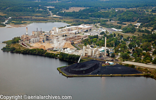 aerial photograph TES Filer City Station coal fired power plant, Lake Manistee, Michigan