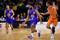 Dion Prewster of the Wellington Saints dribbles the ball during the round two NBL match between the Wellington Saints and the Southland Sharks at TSB Bank Arena, Wellington, New Zealand on Friday 7 May 2021.<br /> Photo by Masanori Udagawa. <br /> www.photowellington.photoshelter.com