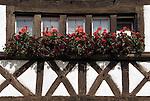 Germany, Baden-Wuerttemberg, Markgraefler Land, Istein, half-timbered house, window flower-decorated