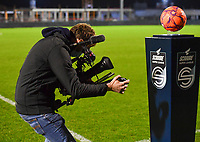 illustration picture showing a cameraman filming the Scooore Super League ball holder ahead of a female soccer game between RSC Anderlecht Dames and Sporting Charleroi on the 13 th matchday of the 2020 - 2021 season of Belgian Womens Super League , friday 5 th of February 2021  in Tubize , Belgium . PHOTO SPORTPIX.BE | SPP | DAVID CATRY
