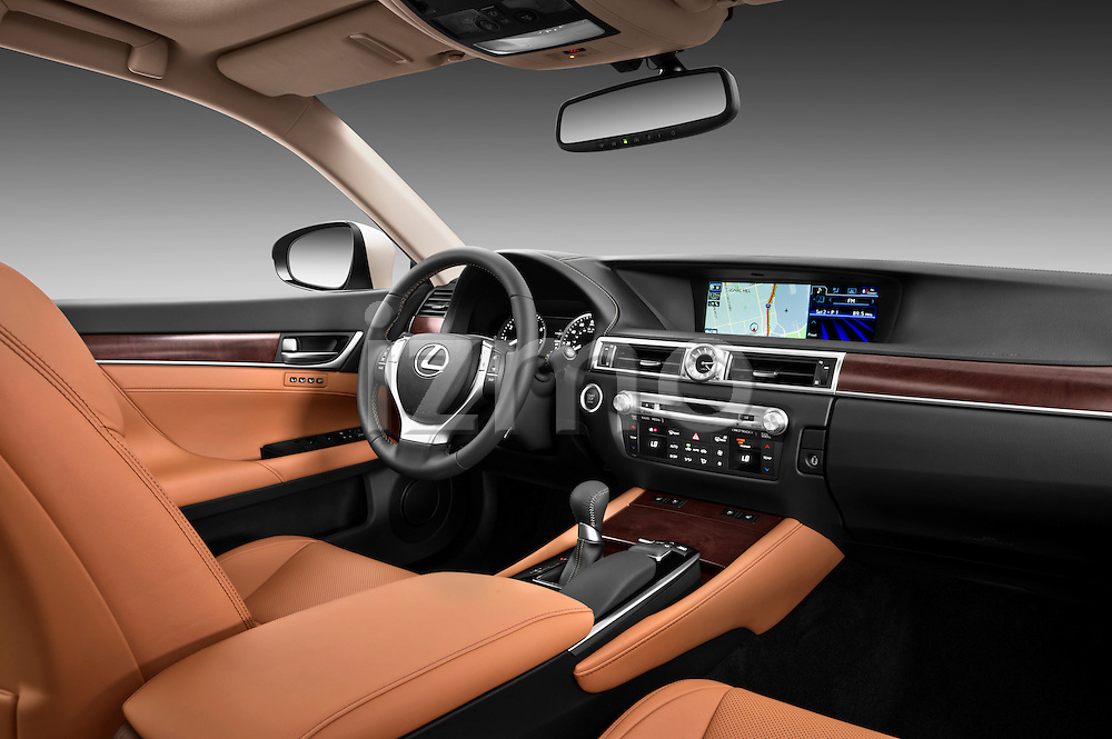 Passenger side dashboard view of a 2013 Lexus GS 350.