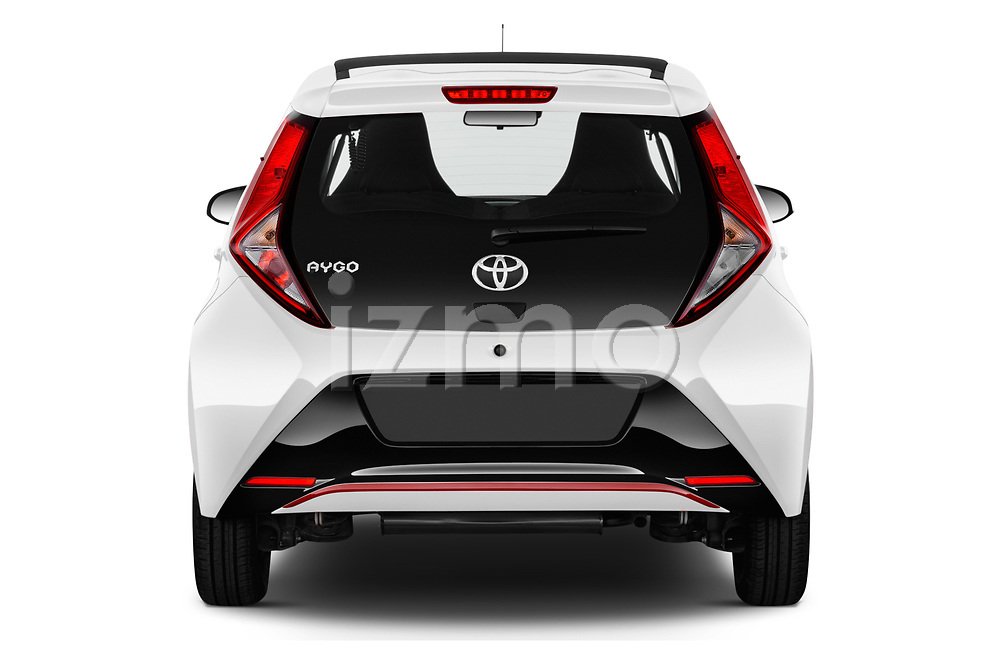 Straight rear view of a 2019 Toyota Aygo x-style 5 Door Hatchback stock images