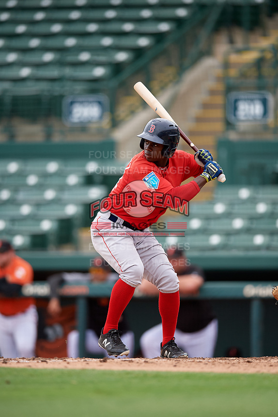 Boston Red Sox Gilberto Jimenez (64) at bat during a Florida Instructional League game against the Baltimore Orioles on October 8, 2018 at the Ed Smith Stadium in Sarasota, Florida.  (Mike Janes/Four Seam Images)