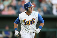 April 17, 2009:  Designated hitter Kevin Randel of the Jacksonville Suns, Southern League Class-AA affiliate of the Florida Marlins, during a game at the Baseball Grounds of Jacksonville in Jacksonville, FL.  Photo by:  Mike Janes/Four Seam Images