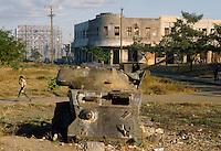 - wreckage of an armored car destroyed during the revolution of the 1979 against the Somoza dictator....- relitto di un autoblindo distrutta durante la rivoluzione del 1979 contro il dittatore Somoza....