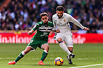 Nacho of Real Madrid competes for the ball with Unai Lopez of Deportivo Leganes during their La Liga match between Real Madrid and Deportivo Leganes at the Estadio Santiago Bernabéu on 06 November 2016 in Madrid, Spain. Photo by Diego Gonzalez Souto / Power Sport Images