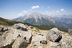 Monte 'd Oro,  from GR Footpath, GR20, Hiking Trail down spine of Corsica, Corsica, France,
