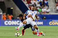Harrison, NJ - Friday July 07, 2017: Bryan Ruiz, Alfredo Mejía during a 2017 CONCACAF Gold Cup Group A match between the men's national teams of Honduras (HON) vs Costa Rica (CRC) at Red Bull Arena.