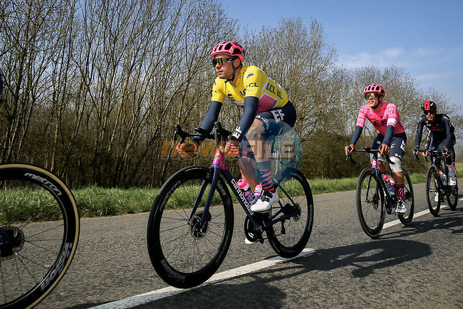 Race leader Yellow Jersey Stefan Bissegger (SUI) EF Education-Nippo during Stage 4 of Paris-Nice 2021, running 187.5km from Chalon-sur-Saone to Chiroubles, France. 10th March 2021.<br /> Picture: ASO/Fabien Boukla | Cyclefile<br /> <br /> All photos usage must carry mandatory copyright credit (© Cyclefile | ASO/Fabien Boukla)