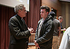 Feb. 16, 2015; University of Notre Dame President, Rev. John I. Jenkins, C.S.C., chats with a student after the Undergraduate Town Hall Event held in DeBartolo. (Photo by Barbara Johnston/University of Notre Dame)