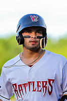 Wisconsin Timber Rattlers catcher Mario Feliciano (4) during game one of a Midwest League doubleheader against the Kane County Cougars on June 23, 2017 at Fox Cities Stadium in Appleton, Wisconsin.  Kane County defeated Wisconsin 4-3. (Brad Krause/Four Seam Images)
