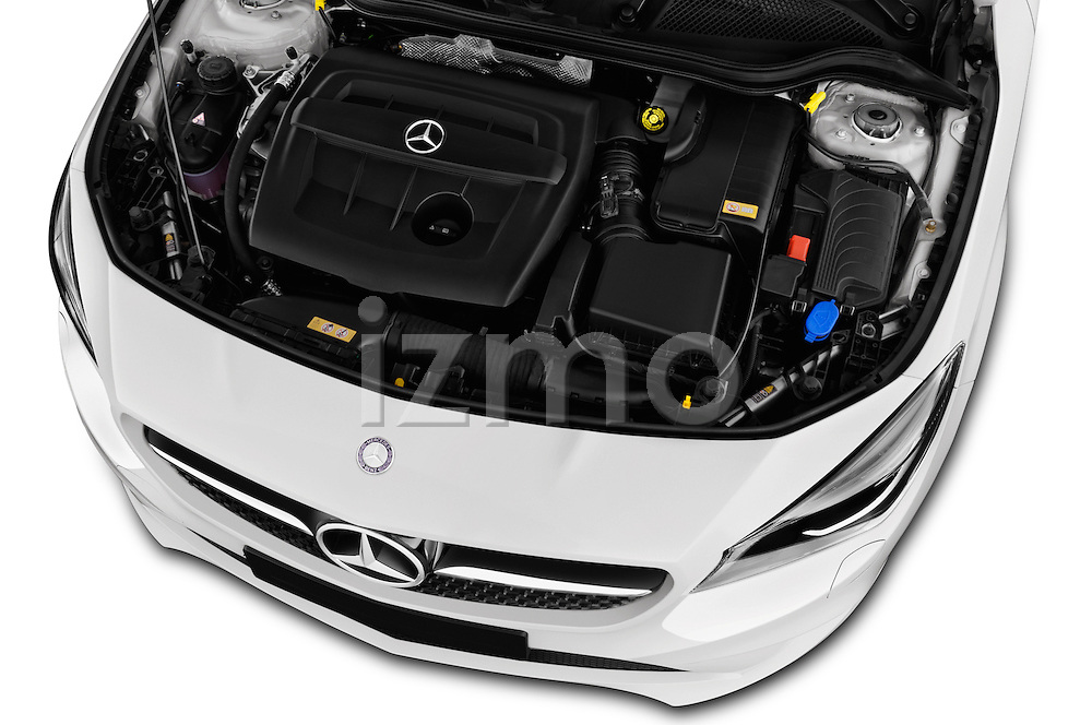 Car Stock 2016 Mercedes Benz CLA - 4 Door Sedan Engine  high angle detail view