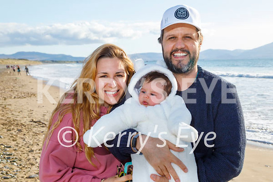 Enjoying a stroll on Banna beach in Monday, l to r: Rocio Soler Lopez, baby Triana Roux Lopez and Jean Roux.