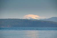 Lenticular Cloud Over Mt. Baker from Haro Strait, San Juan Islands, Washington, US