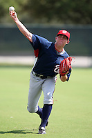 October 6, 2009:  Relief Pitcher Drew Storen of the Washington Nationals organization warms up before an Instructional League game at Disney's Wide World of Sports in Orlando, FL.  Storen was drafted in the 1st round of the 2009 MLB Draft.  Photo by:  Mike Janes/Four Seam Images