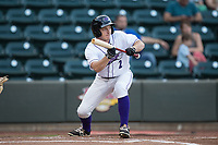 Toby Thomas (2) of the Winston-Salem Dash squares to bunt against the Buies Creek Astros at BB&T Ballpark on April 13, 2017 in Winston-Salem, North Carolina.  The Dash defeated the Astros 7-1.  (Brian Westerholt/Four Seam Images)