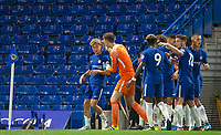goalscorer Luke McCORMICK of Chelsea is congratulated by Goalkeeper Marcin BULKA of Chelsea & his teammates after scoring to make it 2 0 during the U23 Premier League 2 match between Chelsea and Derby County at Stamford Bridge, London, England on 18 August 2017. Photo by Andy Rowland.<br /> **EDITORIAL USE ONLY FA Premier League and Football League are subject to DataCo Licence.