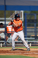 Baltimore Orioles Trevor Craport (49) at bat during an Instructional League game against the New York Yankees on September 23, 2017 at the Yankees Minor League Complex in Tampa, Florida.  (Mike Janes/Four Seam Images)