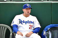 Joe Broussard (21) of the Ogden Raptors prior to the game against the Grand Junction Rockies during Opening Night of the Pioneer League Season on June 16, 2014 at Lindquist Field in Ogden, Utah. (Stephen Smith/Four Seam Images)