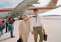 Oct. 13, 1988 - Los Angeles, California - Easther and Jose Canseco walk on the tarmac at Los Angeles International Airport after arriving for a World Series game against the Los Angeles Dodgers on October 13, 1988. (Photo by Alan Greth)