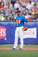 Buffalo Bisons third baseman Jason Leblebijian (9) during a game against the Gwinnett Braves on August 19, 2017 at Coca-Cola Field in Buffalo, New York.  The Bisons wore special Superhero jerseys for Superhero Night.  Gwinnett defeated Buffalo 1-0.  (Mike Janes/Four Seam Images)