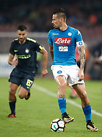 Calcio, Serie A: Napoli, stadio San Paolo, 21 ottobre 2017.<br /> Napoli's captain Marek Hamsik in action during the Italian Serie A football match between Napoli and Inter at Napoli's San Paolo stadium, October 21, 2017.<br /> UPDATE IMAGES PRESS/Isabella Bonotto