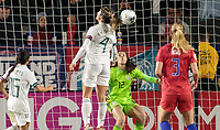 CARSON, CA - FEBRUARY 7: Jocelyn Orejel #4 of Mexico heads ball during a game between Mexico and USWNT at Dignity Health Sports Park on February 7, 2020 in Carson, California.