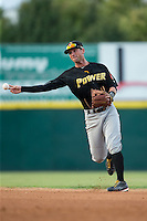West Virginia Power second baseman Tyler Filliben (14) makes a throw to first base against the Hickory Crawdads at L.P. Frans Stadium on August 15, 2015 in Hickory, North Carolina.  The Power defeated the Crawdads 9-0.  (Brian Westerholt/Four Seam Images)