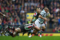 Jonathan Joseph of London Irish is tackled during the Aviva Premiership match between Harlequins and London Irish at Twickenham on Saturday 29th December 2012 (Photo by Rob Munro).