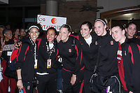 6 April 2008: Stanford Cardinal (L-R) Cissy Pierce, Rosalyn Gold-Onwude, Jayne Appel, Morgan Clyburn, Kayla Pedersen, Jeanette Pohlen, and Michelle Harrison during Stanford's send-off for the 2008 NCAA Division I Women's Basketball Final Four semifinal game at the Westin Harbour Island hotel in Tampa, FL.
