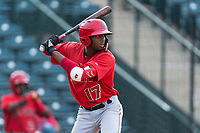AZL Angels right fielder Trent Deveaux (17) at bat during an Arizona League game against the AZL Diamondbacks at Tempe Diablo Stadium on July 16, 2018 in Tempe, Arizona. The AZL Diamondbacks defeated the AZL Angels by a score of 4-3. (Zachary Lucy/Four Seam Images)