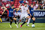 Bayern Munich Midfielder Javi Martinez (C) fights for the ball with FC Internazionale Midfielder Roberto Gagliardini (L) during the International Champions Cup match between FC Bayern and FC Internazionale at National Stadium on July 27, 2017 in Singapore. Photo by Marcio Rodrigo Machado / Power Sport Images