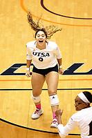SAN ANTONIO, TX - OCTOBER 26, 2018: The University of Texas at San Antonio Roadrunners fall to the Rice University Owls 3-0 (13-25, 25-27, 21-25) at the UTSA Convocation Center. (Photo by Jeff Huehn)