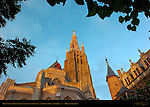 Onze-Lieve-Vrouwkerk Church of Our Lady and Gruuthuse Palace at Sunrise, Bruges, Brugge, Belgium